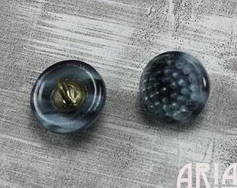CZECH GLASS BUTTON: 12mm Handpainted Pebble Glass Button, Pendant, Cabochon (1)