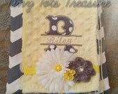 Personalized grey and yellow baby blanket