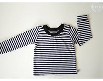 Organic cotton LONGSLEEVE black white striped