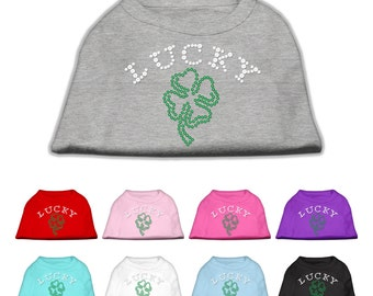 Four Leaf Clover Lucky Sleeveless T-Shirt for Dog or Cat, St. Patrick's Day