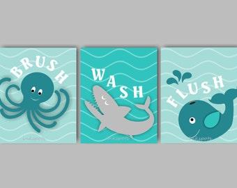 Kids Bath Wall Art - Bath Rules Prints - Kids Bath Art - Nautical Kids Bath Prints Shark Bath Whale Bath Art Brush Wash Flush CHOOSE COLORS