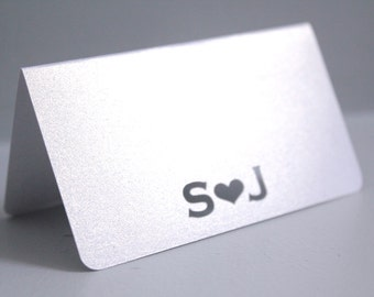 Personalized place cards, Metallic white cards, Shimmer white cards, Wedding tent cards, White wedding cards, Metallic place cards favors