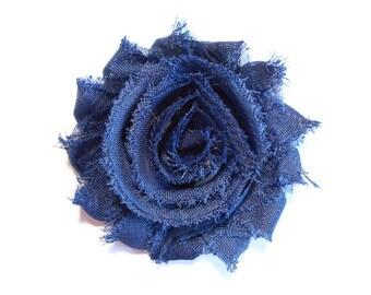 Shabby Flower Hair Clip - Navy Hair Clip - 2.5 inch