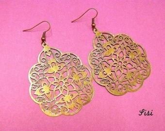 Filigree earrings bronze metal