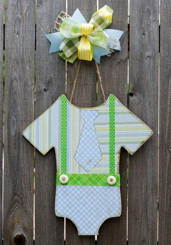 Boy Onesie Door Hanger Made With Mod Podge Scrapbook Paper And