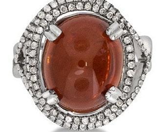 MJ Cabuchon Garnet Diamond ring