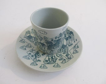 Demitasse Set, Nymolle Art Faience Hoyrup, Hoyrup, Cup and Saucers, Demitasse Cup, Made in Denmark