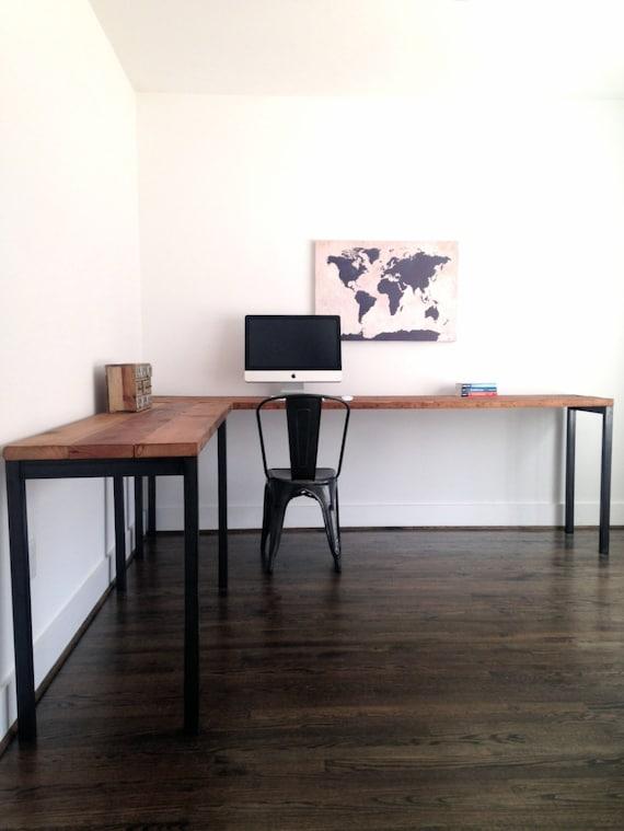 l shaped desk reclaimed wood steel industrial by arcandtimber. Black Bedroom Furniture Sets. Home Design Ideas