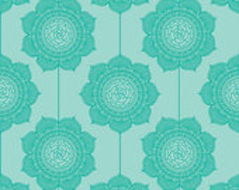 The Cottage Garden Wallpaper Teal by the Quilted Fish for Riley Blake