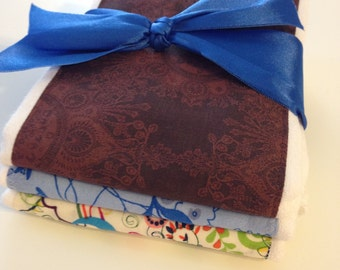 Set of 3 Elegant Brown and Blue Baby Boy Burp Cloth Set