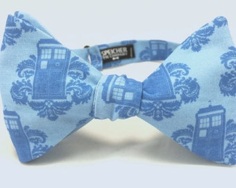 TARDIS Damask Doctor Who Bow Tie - bowtie, bowties, bow ties, dr who, the doctor, geek, geeky chic, nerd, comic con, fun, cool, awesome