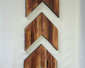 Wooden Arrow Wall Art ; Wooden Chevron; Wall Decor (SET OF THREE)