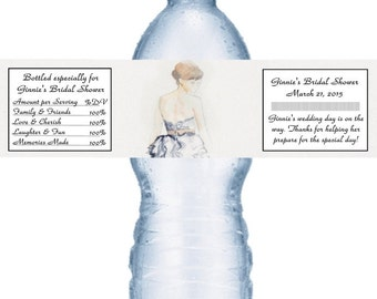 49 Watercolor Bride Water Bottle Labels