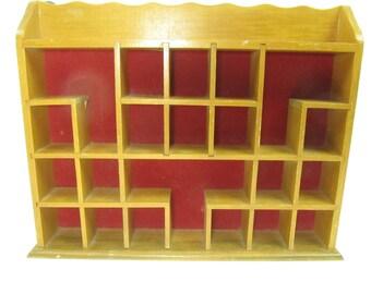 Shadow Box Shelf, Wall Shelf, Display Box, Cabinet, Shelving, Red Lining, Maple Wood