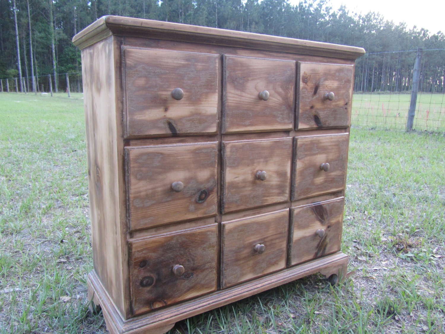 Vintage apothecary table nine drawer cabinet rustic solid for Apothecary table