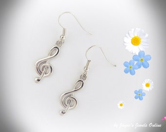 Music Note Earrings, Treble Clef earrings, Music Jewellery, Matching Necklace available