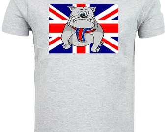British Bulldog Puppy Union Jack Flag T shirt choice of sizes and colours