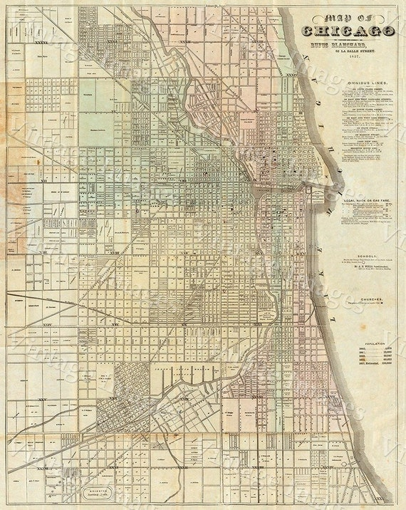 Vintage Map of Chicago 1857 Chicago Illinois map Antique Restoration Hardware Map Old Style Downtown Chicago Map Perfect housewarming gift