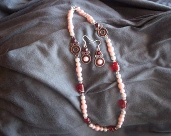 Antique silver, faux pearls, red glass barrell bead necklace