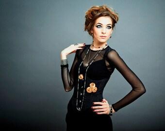 "Black Gold Flowers Dupioni Silk Black Lace Leaves Edwardian Goth Underbust Corset ""Clair Obscur"" (Twilight)"