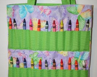 Purple Butterfly Crayon Bag