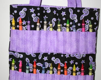 Purple Music Notes Crayon Bag