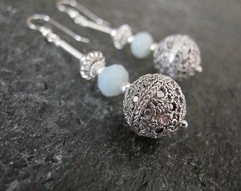 Jewelry,Silver earrings, Filigree earrings, Amazonite earrings,Israel jewelry