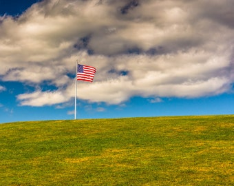 American Flag and hill at Fort Williams Park, Cape Elizabeth, Maine - Landscape Photography Fine Art Print or Wrapped Canvas