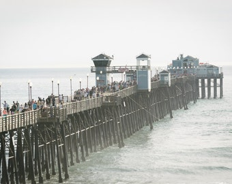 View of the pier in Oceanside, California - Photography Fine Art Print or Wrapped Canvas