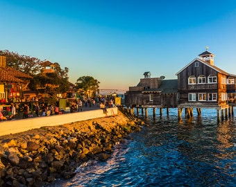 Evening light at Seaport Village, in San Diego, California - Photography Fine Art Print or Wrapped Canvas