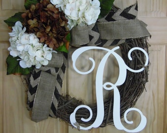 spring wreath - summer wreath - monogram wreath -  hydrangea wreath -housewarming gift - mothers day