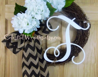 Spring wreath - easter wreath - summer wreath - mothers day  - hydrangea wreath - grapevine wreath