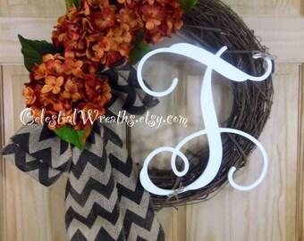 spring wreath - summer wreath - easter wreath - mothers day - housewarming - hydrangra wreath - housewarming