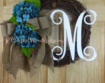 Spring wreath - summer wreath - monogram wreath - blue hydrangea wreath - mothers day - housewarming - wedding