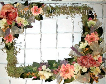 Victorian Rectangular Wreath 79 USD Cottage Chic Custom Made Easy U PICK, Everyday Silk Floral, Indoor Decor, Shabby, Wedding, Peach  Rose