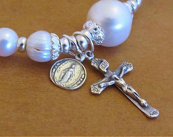 PEARL & STERLING SILVER Rosary Bracelet-Bridal Gift-Mother of the Bride-Mother of the Groom-Religious Gifts-Rosary Bracelet-Catholic Jewelry