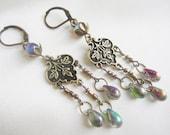 Belle Epoque Iridescent Handmade Earrings OOAK Antique Brass Trefoil Czech Aurora Borealis Tear Drop Glass Bohemian Art Nouveau Earrings