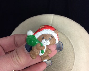 Vintage Signed Russ Christmas Bear Pin