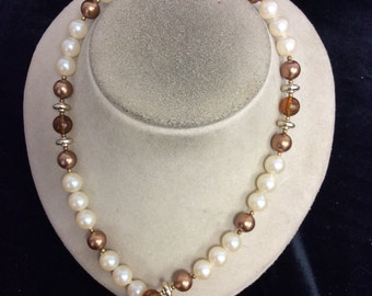Vintage Shades Of Goldtone-Brown Faux Pearl Necklace