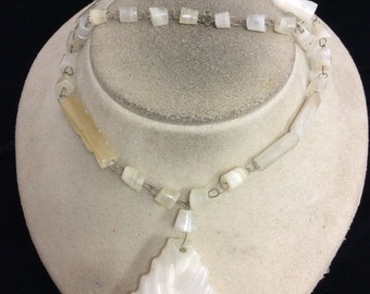 Vintage Chunky Alabaster Carved Glass Necklace