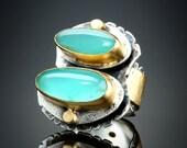 Peruvian Opal and Diamond Ring  size 6 1/2