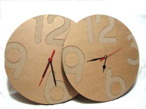 Modern wall clock Cardboard wall clock rustic by ...