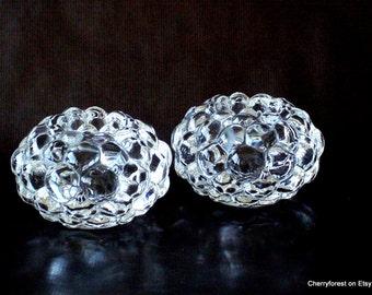 Orrefors 'Raspberry'  pair of candleholders/votives,  ( 11 cm)