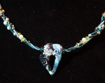 Blue Raku Swirl Necklace