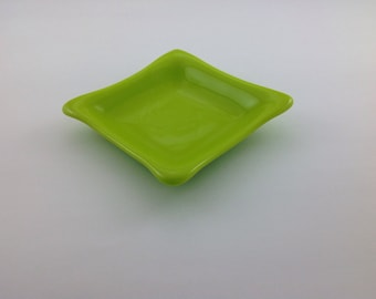 Lemongrass Color Fused Glass Dish