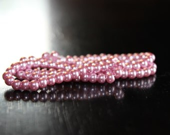 100 glass pearl beads, dyed, round 4-4.5 mm, pink, hole 0.7-1.1 mm, cotton cord threaded