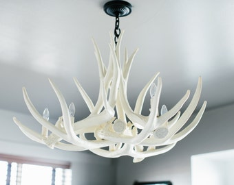The shabby antler by theshabbyantler on etsy white antler chandelier d6 faux antler chandelier antler chandelier mozeypictures Choice Image