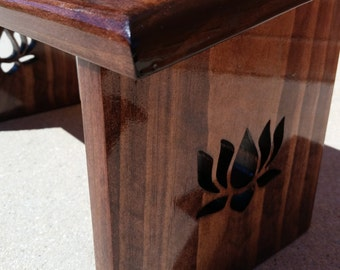 Hand Crafted Red Mahogany Stain Meditation Bench with Lotus Flower Legs.