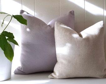 16x16 Light Brown Belgian Linen Throw Pillow Cover