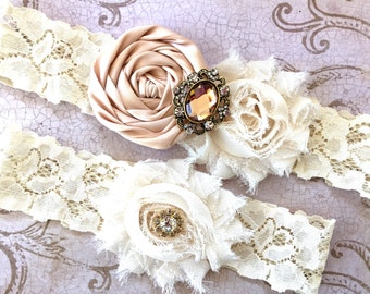 Blush Bridal Garter, Wedding Garter, Vintage Garter SET, Garter, Toss Garter